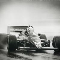 Ayrton Senna racing in the Estoril GP 1985 Team Lotus